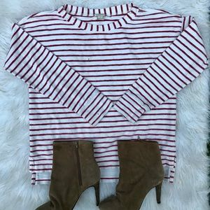 J. Crew Small Red and White Striped Pullover SizeS
